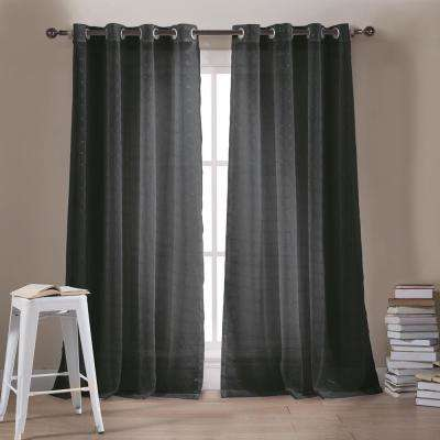 Minikini 54 in. W x 84 in. L Polyester Window Panel in Black