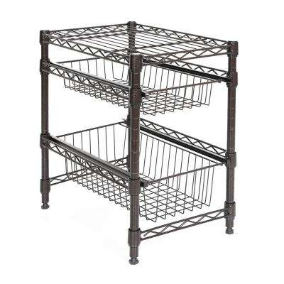 11.42 in. x 17.32 in. Bronze Pull-Out Cabinet Organizer Basket