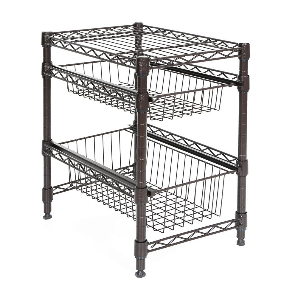 Superb Bronze Pull Out Cabinet Organizer Basket
