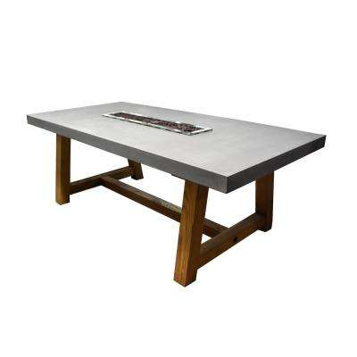 Sonoma 83 in. x 39 in. x 31 in. Rectangle Concrete Top Propane Fire Pit Dining Table in Light Gray with Ashwood Base