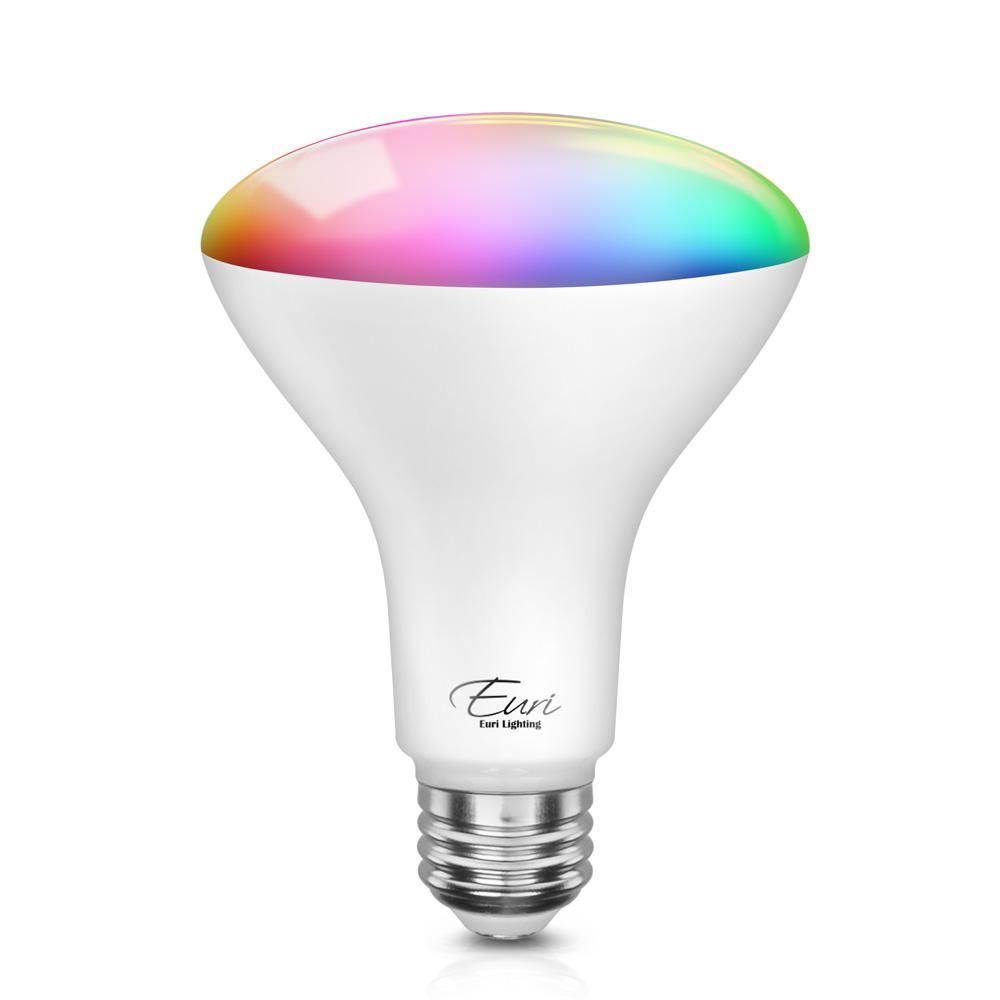Euri Lighting 60-Watt Equivalent BR30 Dimmable Color and Smart LED Light Bulb in White (1-Bulb)