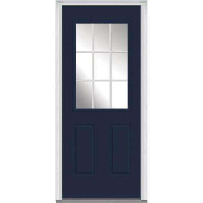 32 in. x 80 in. Grilles Between Glass Right-Hand Inswing 1/2-Lite Clear 2-Panel Painted Steel Prehung Front Door
