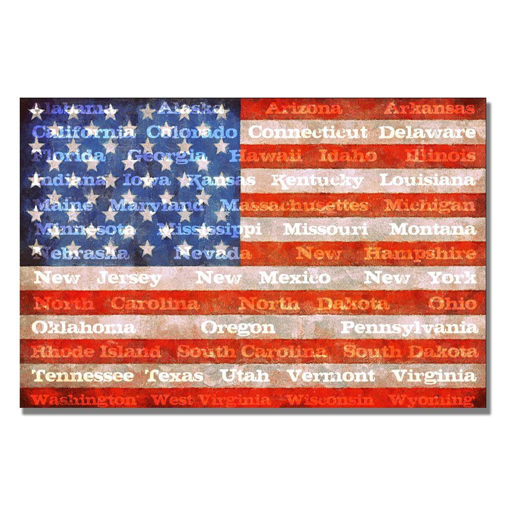 Trademark Fine Art 22 in. x 32 in. American Flag with States Canvas Art
