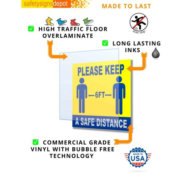 3 x Social Distancing Stickers Signs Keep Your Distance Virus White