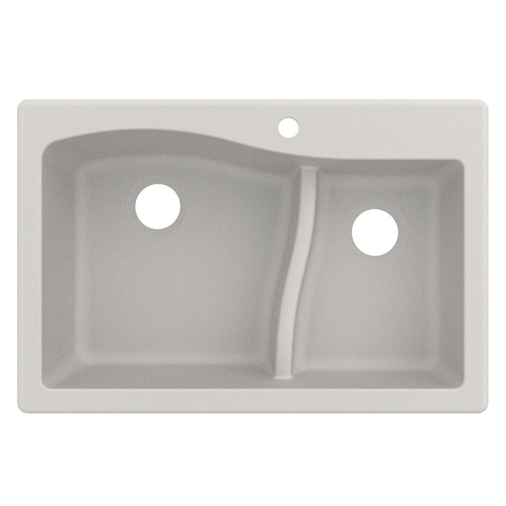 Quarza Drop-in/Undermount Granite Composite 33 in. 1-Hole 60/40 Double Bowl