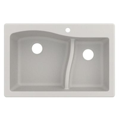 Quarza Drop-in/Undermount Granite Composite 33 in. 1-Hole 60/40 Double Bowl Kitchen Sink in White