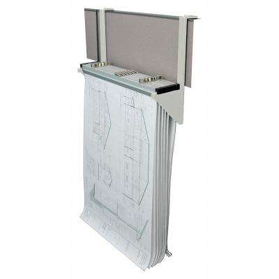 Cubicle Wall Rack for Blueprints, White
