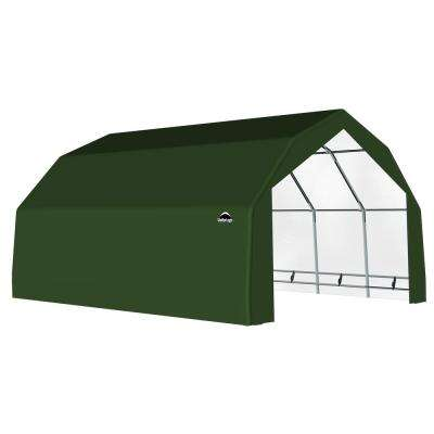 20 ft. x 20 ft. x 12 ft. Green Galvanized Steel and PVC Garage Without Floor
