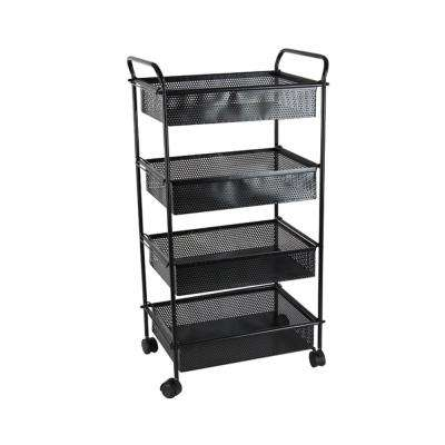 4-Tiered Metallic Black Iron Mesh Wheeled Cart