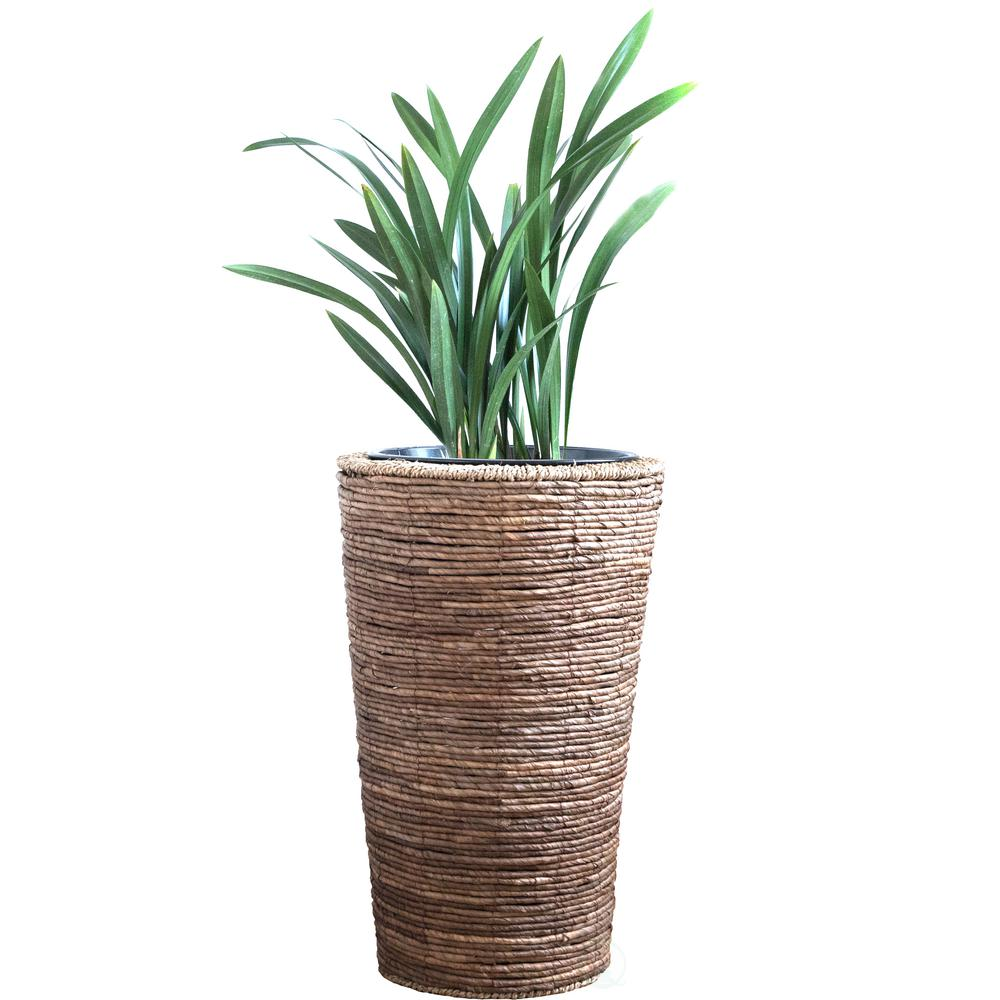 Wicker Banana Rope Tall Floor Planter With Metal Pot Large