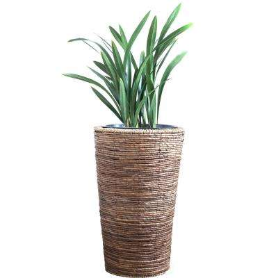 Wicker Banana Rope Tall Floor Planter with Metal Pot, Large