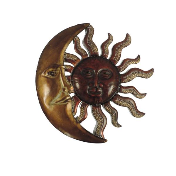 Benzara Sun Moon Bronze and Red Metal Well Designed Wall Decor