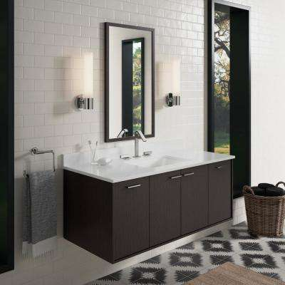 Jute 48 in. Vanity in Satin Oak with Home Decorators Marble Vanity Top in Carrara with White Basin
