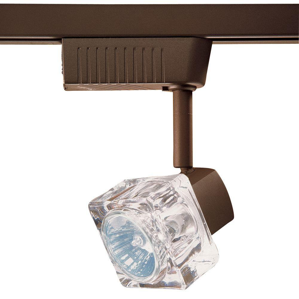 6701 Series Low-Voltage MR16 Oil-Rubbed Bronze Glass Cube Track Lighting Fixture