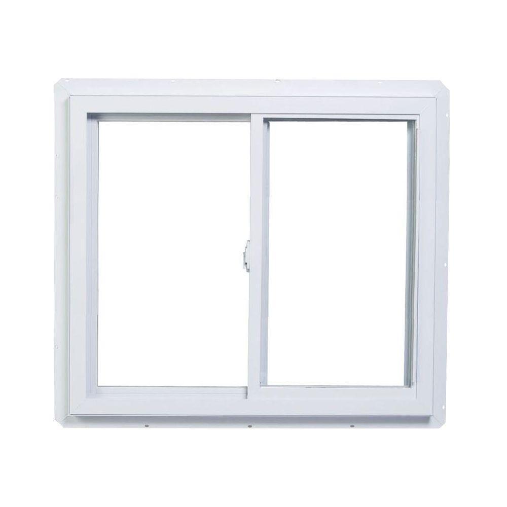 36 in. x 36 in. 70 Series Slider Dual Vent Fin Vinyl Window - White