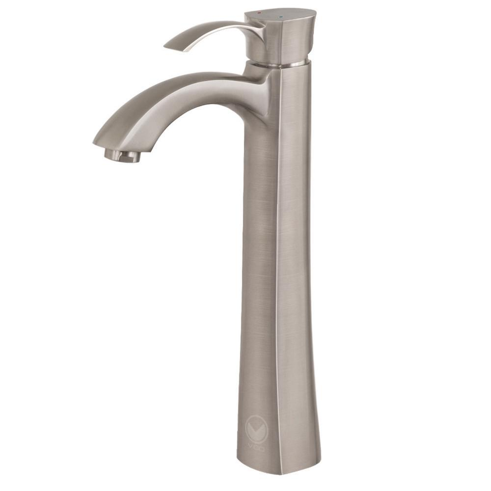 Vigo otis single hole 1 handle bathroom faucet in brushed - Single hole bathroom faucets brushed nickel ...