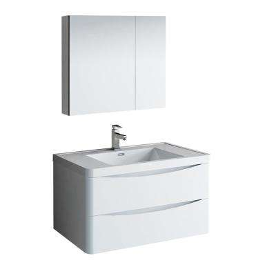 Tuscany 36 in. Modern Wall Hung Bath Vanity in Glossy White w/ Vanity Top in White w/ White Basin and Medicine Cabinet