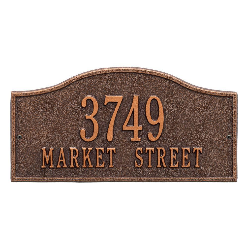 Whitehall Products Rolling Hills Rectangular Antique Copper Standard Wall 2-Line Address Plaque