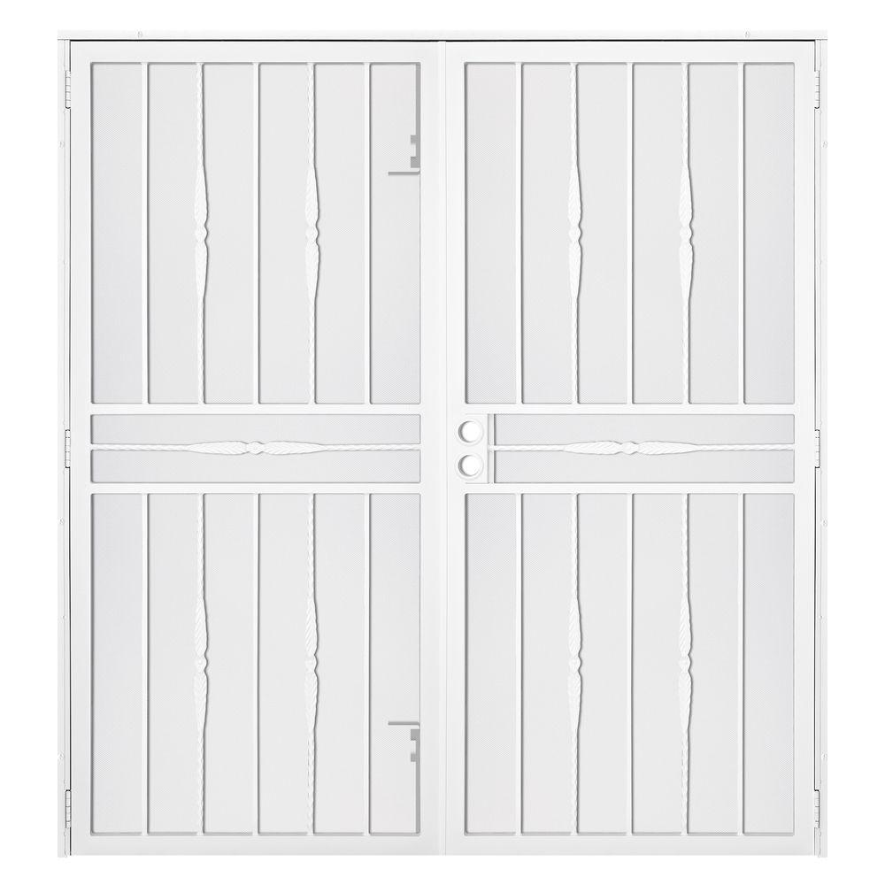 Unique Home Designs 72 in. x 80 in. Cottage Rose White Surface Mount ...