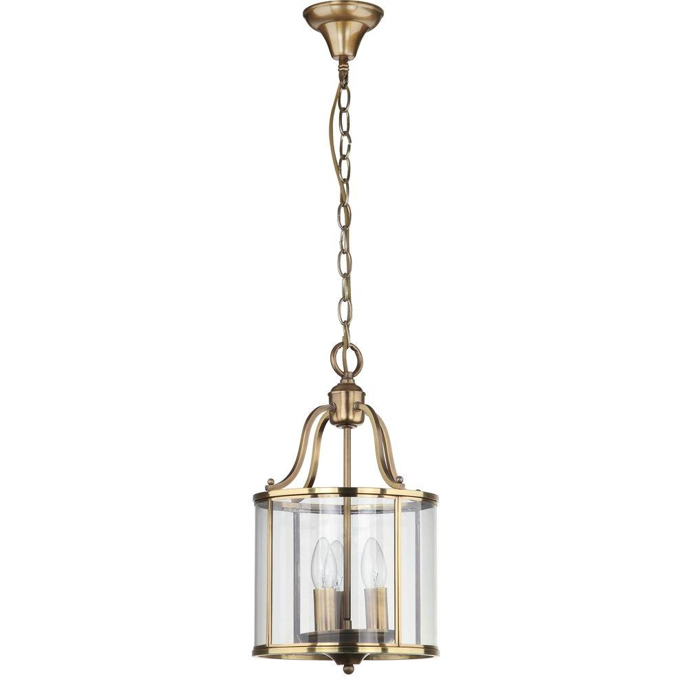 Safavieh Sutton Place 3 Light Br Small Pendant With Clear Shade