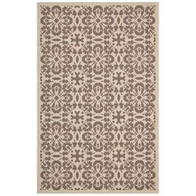 Ariana Vintage Floral Trellis 8 ft. x 10 ft. Indoor and Outdoor Area Rug in Light and Dark Beige