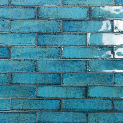 Moze Blue 3 in. x 12 in. 9mm Ceramic Subway Wall Tile Sample