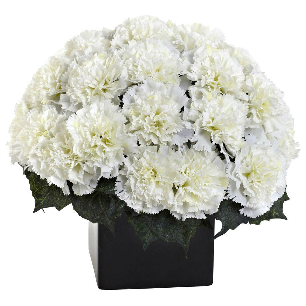 Nearly Natural Carnation Arrangement With Vase 1372 Cr The Home Depot