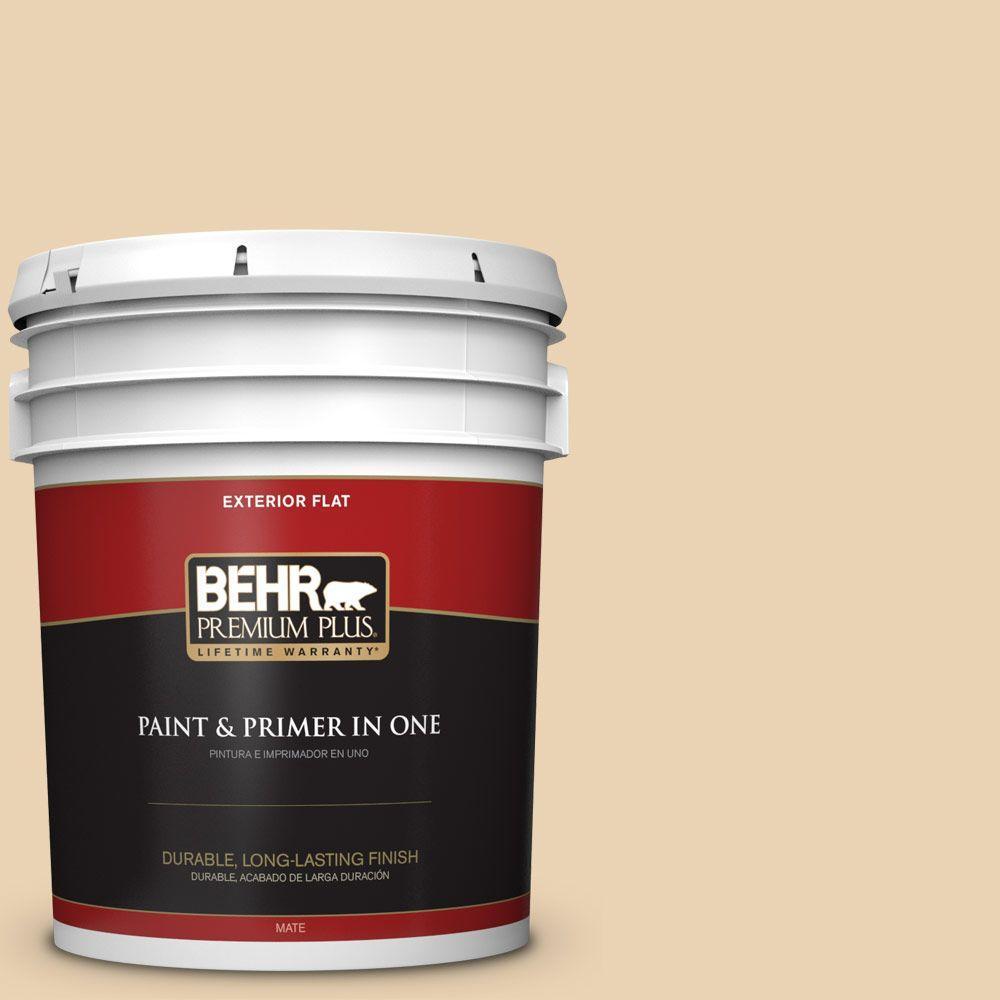 BEHR Premium Plus 5-gal. #ICC-93 Champagne Gold Flat Exterior Paint