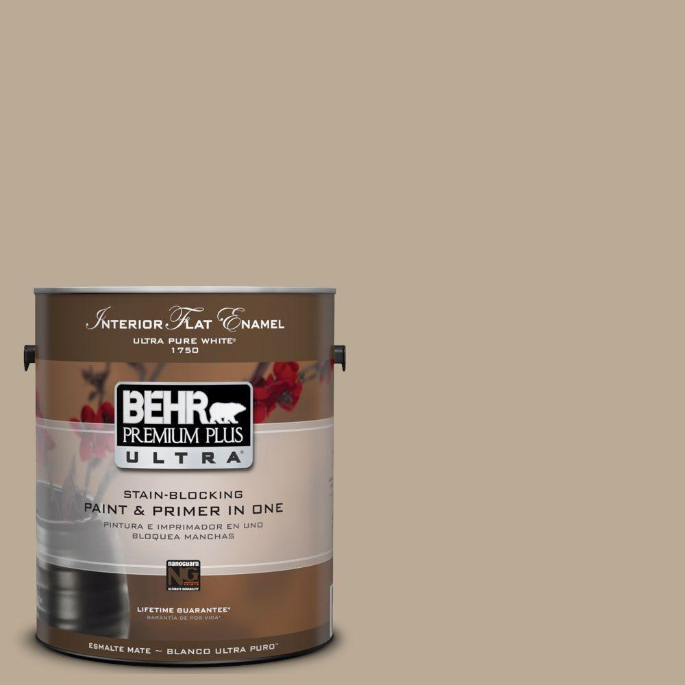 BEHR Premium Plus Ultra 1-Gal. No.UL170-19 Nile Sand Interior Flat Enamel Paint