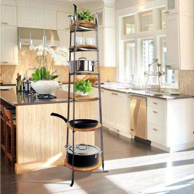 Handcrafted 6-Tier Gourmet Cookware Stand with Alder Shelves Hammered Steel (Unassembled)