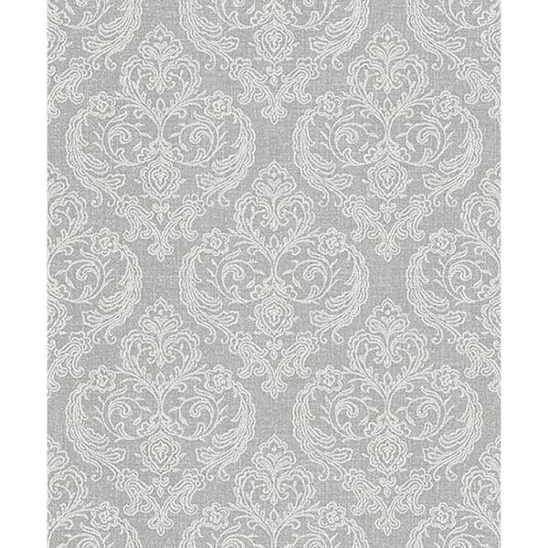 Crown 56 4 Sq Ft Ida Light Grey Damask Wallpaper M1309 The