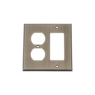 New York Switch Plate with Rocker and Outlet in Antique Pewter
