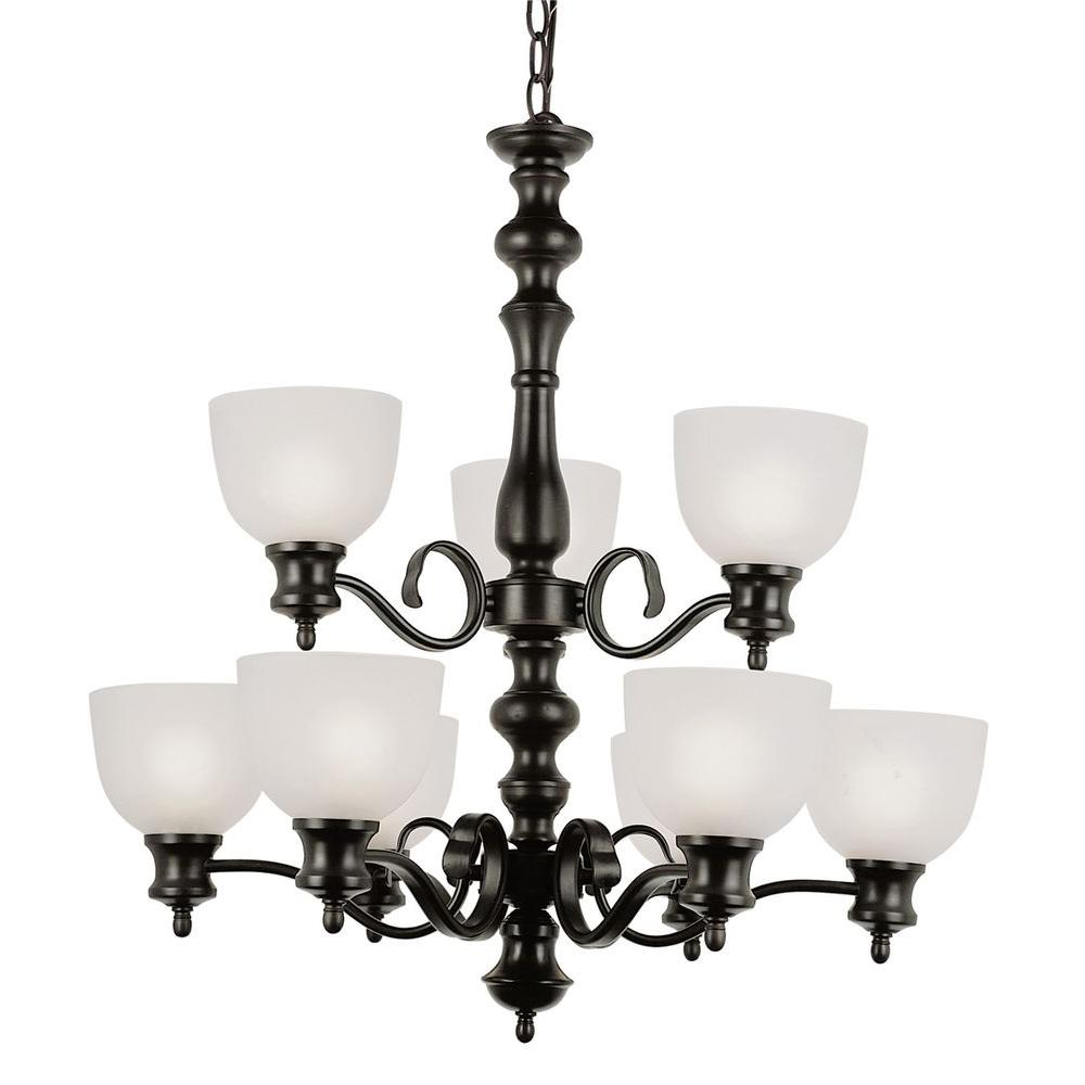 Bel Air Lighting Cabernet Collection 9 Light Oiled Bronze Chandelier With White Frosted Shade