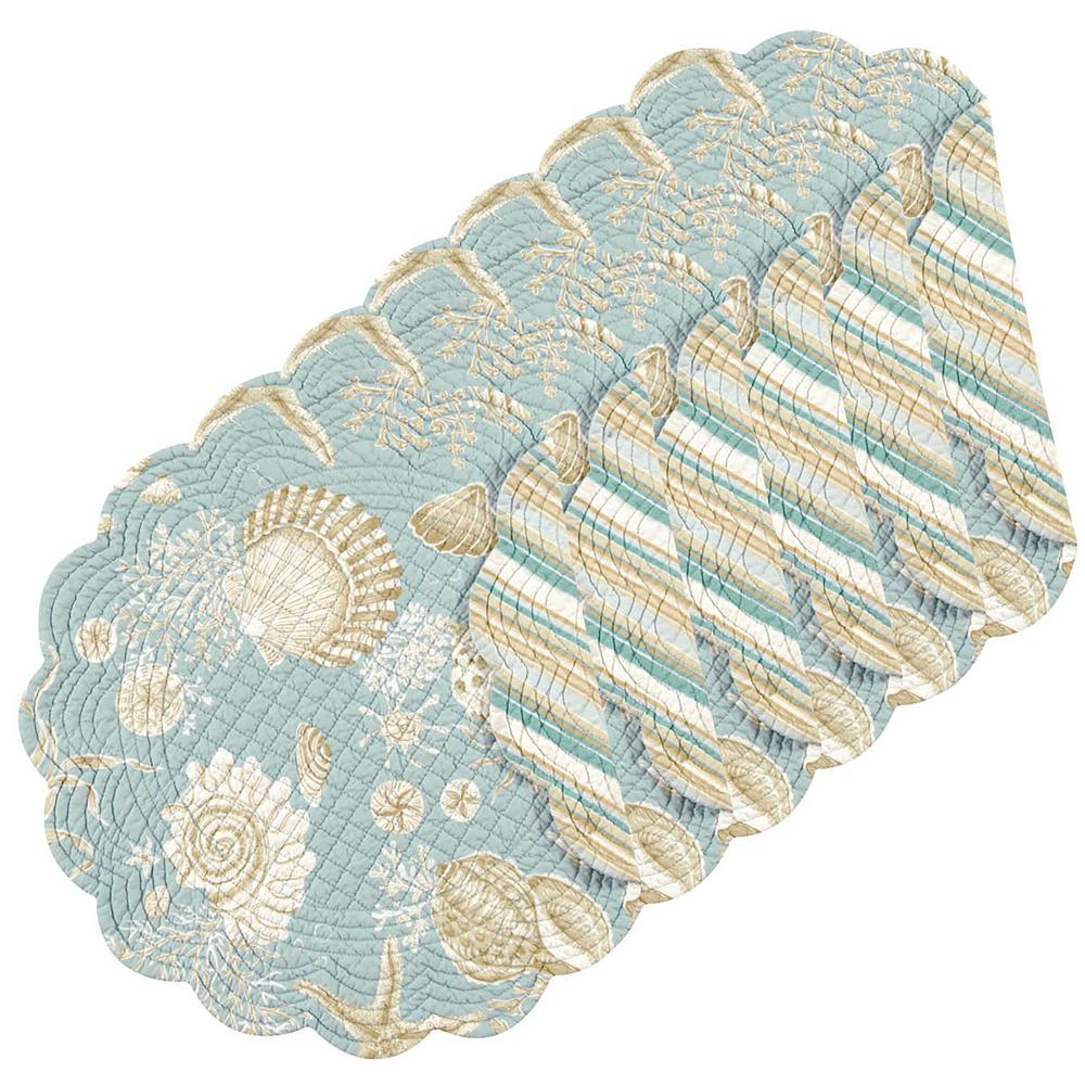 Natural Shells Round Blue Placemat (Set of 6)
