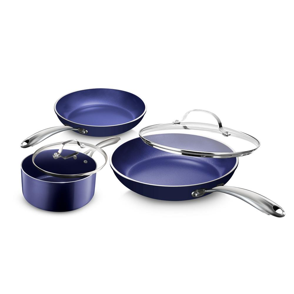 Classic Blue 5-Piece Aluminum Ultra-Durable Non-Stick Diamond Infused Cookware Set with Glass Lids