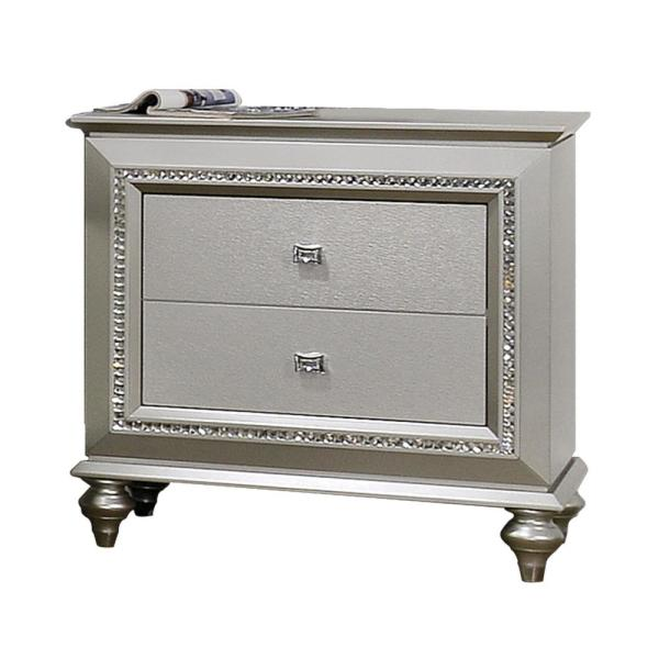 Amelia 2-Drawer 18 in. x 30 in. x 30 in. Champagne Wood Nightstand