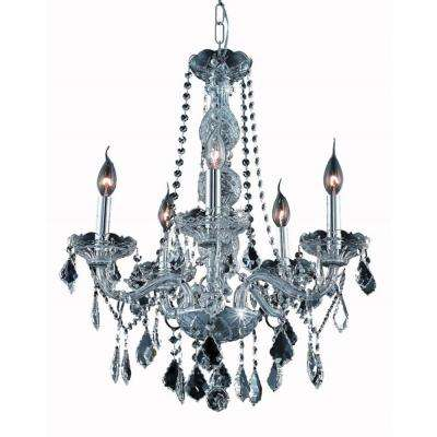 5-Light Silver Chandelier with Grey Crystal