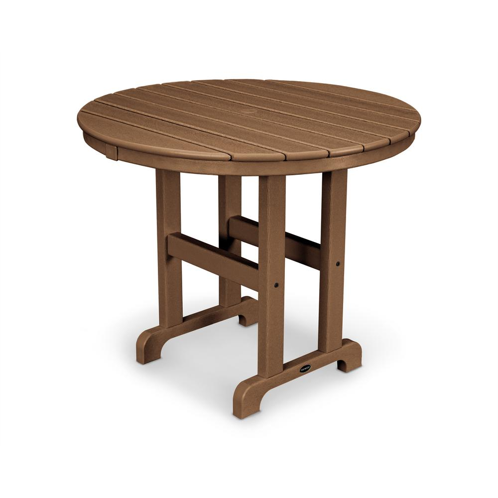 La Casa Cafe 36 in. Teak Round Plastic Outdoor Patio Dining