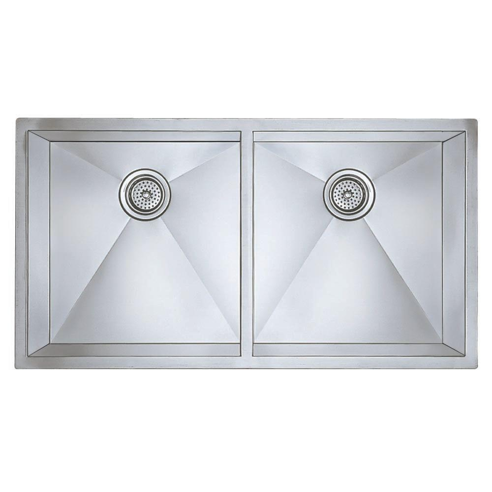 Precision Undermount Stainless Steel 37 in. Double Bowl Kitchen Sink