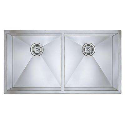 Precision Undermount Stainless Steel 37 in. 0-Hole Large Equal Double Bowl Kitchen Sink