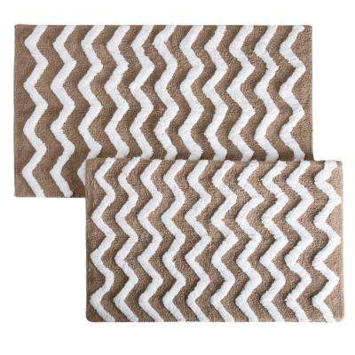 Chevron Taupe 24.5 in. x 41 in. 2-Piece Bathroom Mat Set