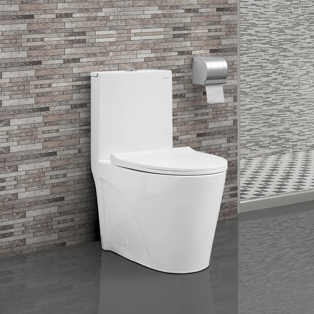 St.Tropez 1-Piece 0.8/1.28 GPF Dual Flush Elongated Toilet in White