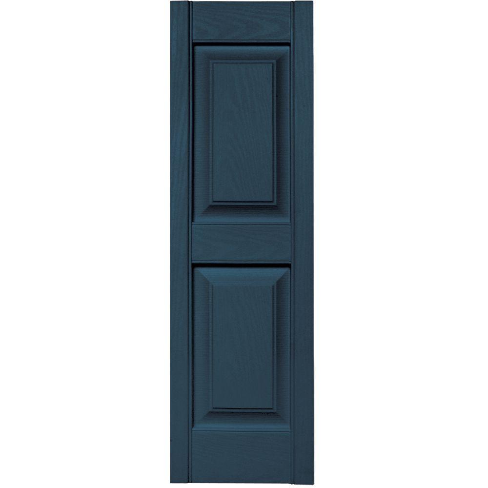 12 in. x 39 in. Raised Panel Vinyl Exterior Shutters Pair in #036 Classic Blue