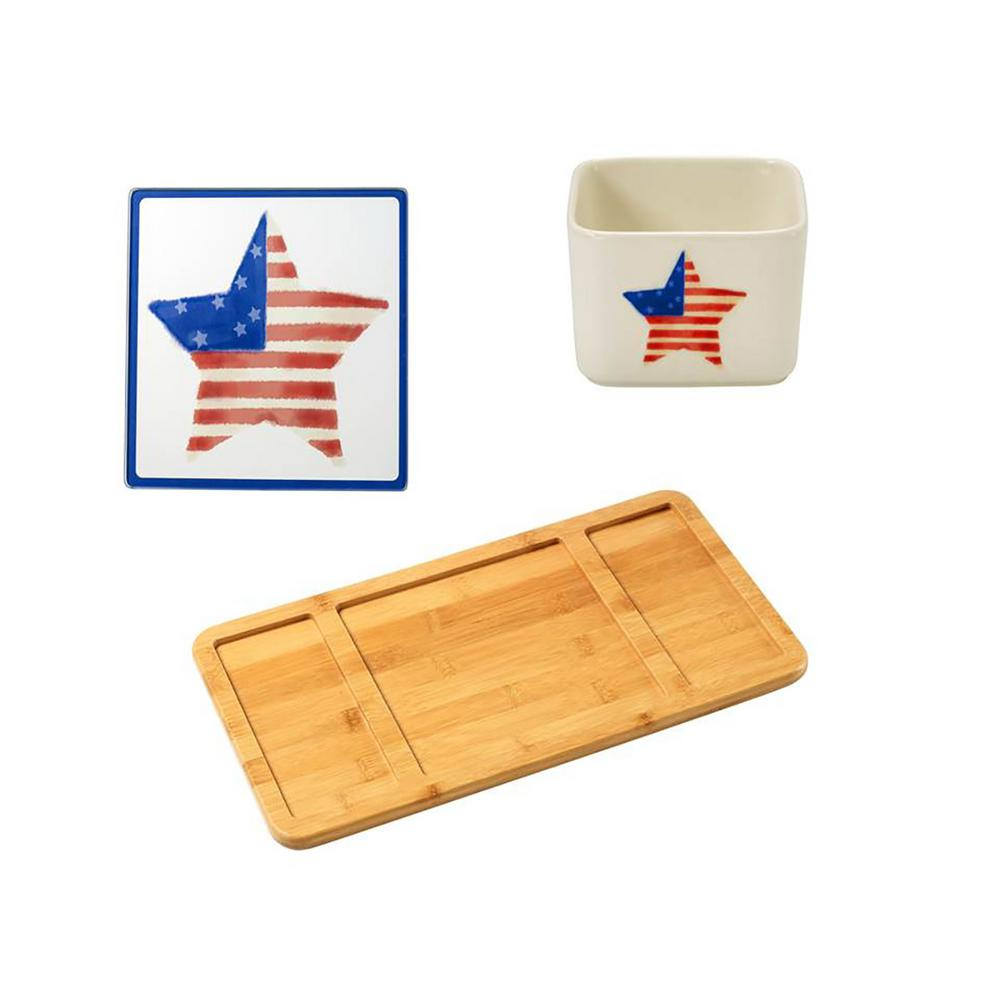 Precious Moments Bamboo Cheese Board, Patriotic Glass Cutting Board and Square Porcelain Patriotic Appetizer Bowl, Multi Food tastes better when its served with style, Weve made it easy to add elegance to your holiday parties by pairing an eco-friendly bamboo serving tray, a practical and pretty dip bowl as well as a matching glass cutting board designed to be used on its own or with our cleverly designed holiday serving sets. This group of items would make a beautiful wedding gift and a unique hostess gift, or a gift just because. The dip bowl is crafted in porcelain. Dishwasher and microwave safe. Approximately 2.25 in. high. Holds approximately 7 oz. The serving tray is crafted of bamboo. Spot clean only. Approximately 15.5 in. x 8.25 in. Color: Multi.