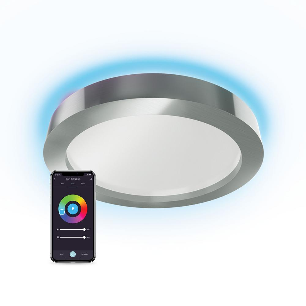 atomi smart Smart WiFi 16 in. LED 1-Light White and Color Changing Brushed Nickel Smart WiFi LED Flush Mount Ceiling Light