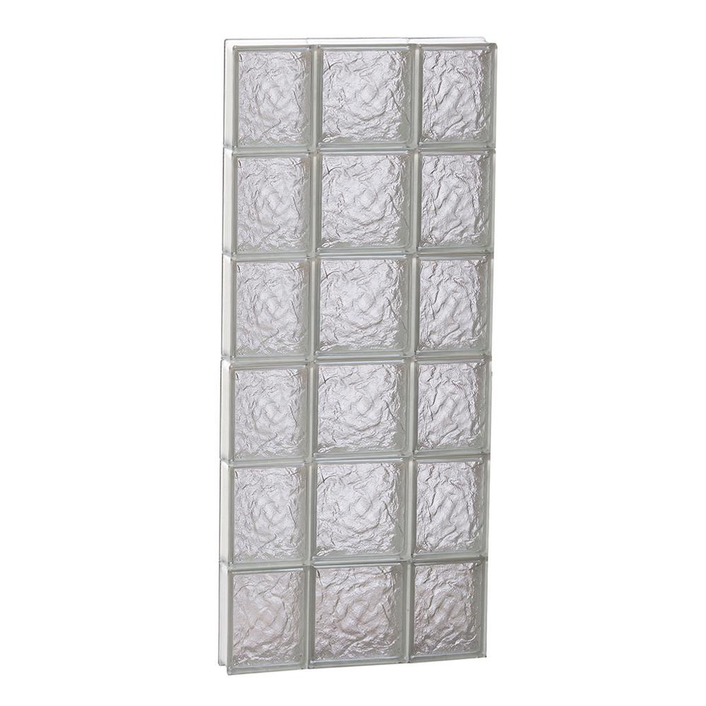 Clearly Secure 19.25 in. x 46.5 in. x 3.125 in. Frameless Ice Pattern Non-Vented Glass Block Window