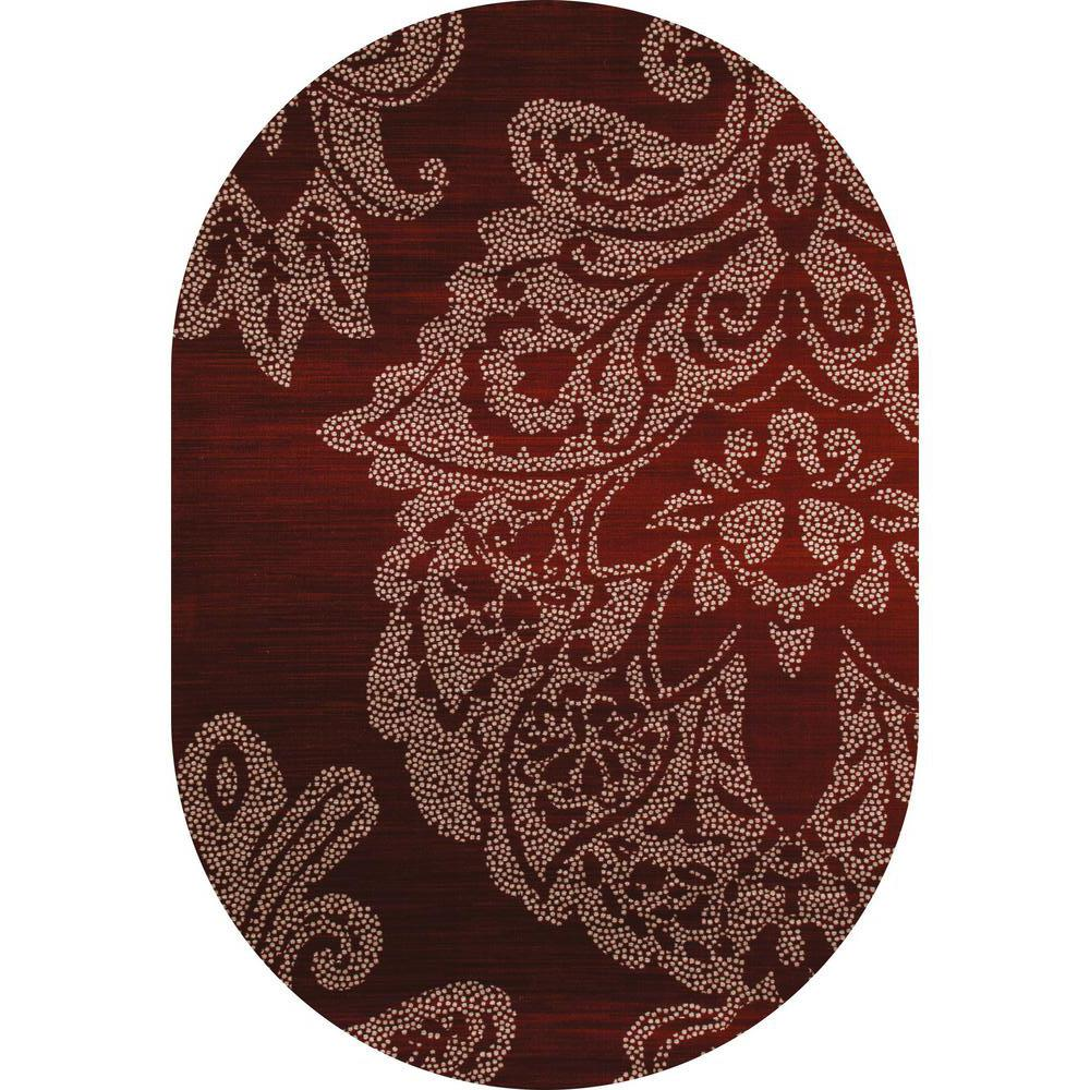 Art Carpet Bastille Large Damask Red 5 Ft. X 8 Ft. Oval