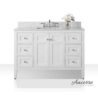 Maili 48 in. W x 22 in. D Vanity in White with Marble Vanity Top in Carrara White with White Basin