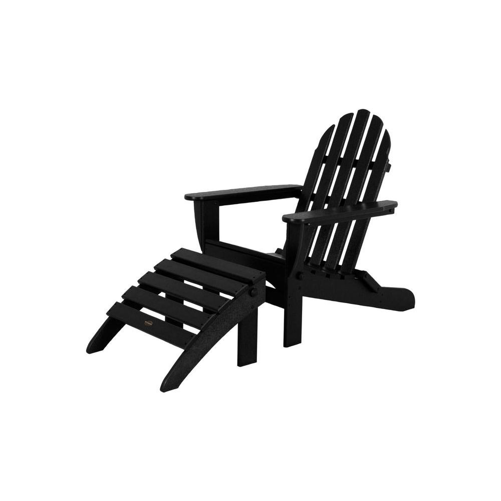Classic Black Plastic Patio Adirondack Chair