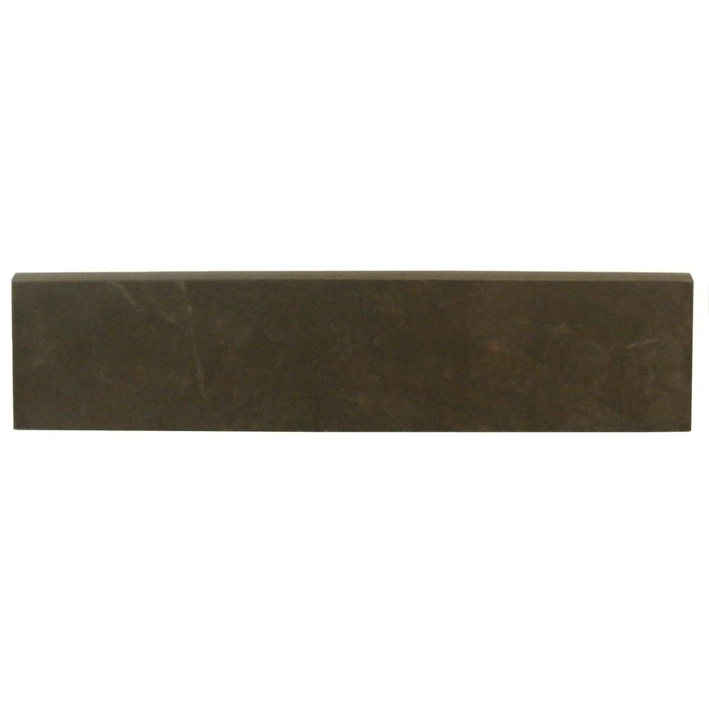 Concrete Connection Eastside Brown 3 in. x 13 in. Porcelain Bullnose
